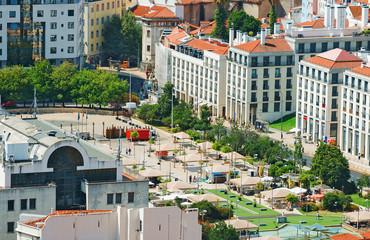 Aerial view of old streets of Lisbon. Martim Moniz square.