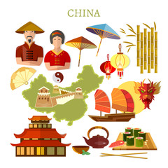 China collection. Chinese traditions and culture, map, people. Travel to China template elements