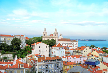 Monastery of Sao Vicente de Fora and old town in Lisbon.