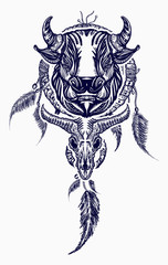 Tribal bull and dreamcatcher tattoo art. Indian dream catcher with ethnic ornaments and ethnic bull head tattoo. Boho native american style t-shirt design
