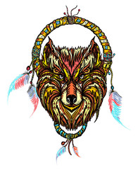 Indian dream catcher with ethnic ornaments and ethnic tribal head wolf. Boho native american style t-shirt design. Tribal wolf and dreamcatcher vector