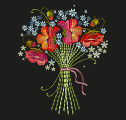 Embroidery bouquet of flowers. Classical embroidery beautiful summer flowers. Template for clothes, textiles, t-shirt design