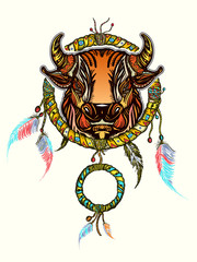 Indian dream catcher with ethnic ornaments and ethnic bull head. Boho native american style t-shirt design. Tribal bull and dreamcatcher vector
