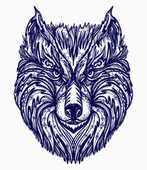 Wolf tattoo. Native american style t-shirt design. Wolf head tribal tattoo