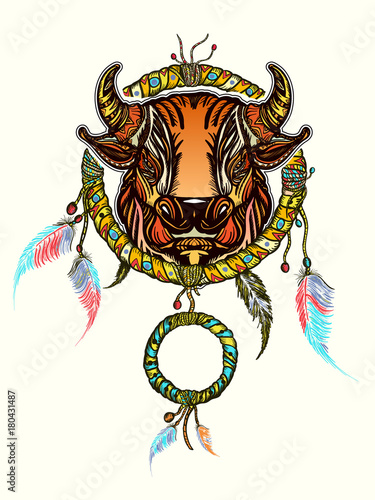 ae4c16426 Indian dream catcher with ethnic ornaments and ethnic bull head. Boho native  american style t-shirt design. Tribal bull and dreamcatcher vector