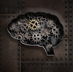 Brain gears and cogs concept 3d illustration