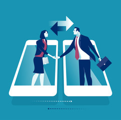 Online Communication. Businesspersons shaking hands through display of a smartphone. Business concept vector illustration.