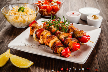 Kebab - grilled meat and vegetables
