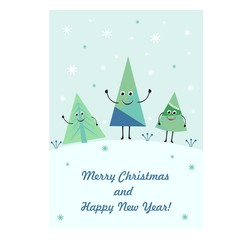Greeting card with cute funny Christmas trees. Merry Christmas and happy new year.