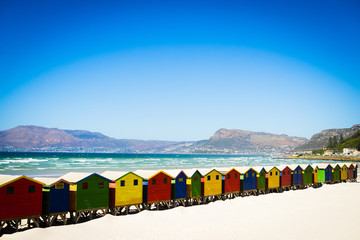 Colourful beach houses at Muizenberg beach, South Africa