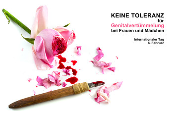 cut rose blossom, blood and knife isolated on a white background with german text Keine Genitalverstümmelung bei Frauen und Mädchen, that means zero tolerance for FGM