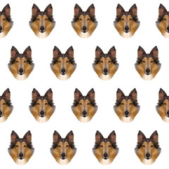 Abstract polygonal collie dog seamless background. Modern low poly collie dog portrait pattern background