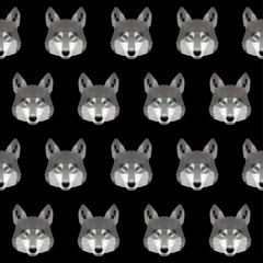 Abstract polygonal wolf seamless pattern background. Modern low poly wolf portrait pattern