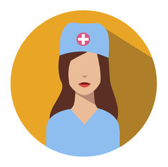 Doctor web icon. Nurse medical avatar in flat style illustration