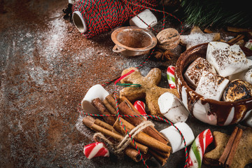 New Year, Christmas treats, sweets. Cup of hot chocolate with fried marshmallow, ginger star cookies, gingerbread men, striped candy, spices cinnamon anise, cocoa, powdered sugar.  Copy space