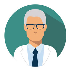 Doctor web icon. head physician medical avatar in flat style illustration