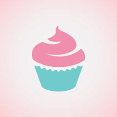 Cupcake on pink background.