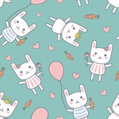 Cartoon Rabbit Seamless Pattern, Bunny Doodle Background, Vector illustration