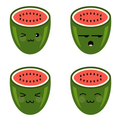 Cute Cartoon Watermelon Sweet Smile Character icon