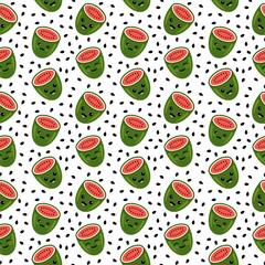 Watermelon Cartoon Face Seamless Pattern