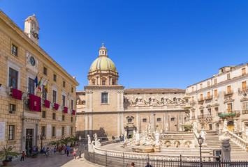 Palermo, Sicily, Italy. Pretoria square and the fountain of Shame, 1554