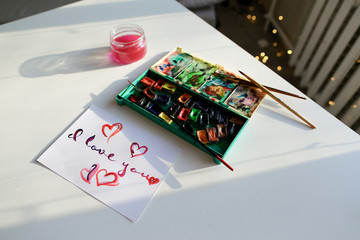Cute postcard with declaration of love in calligraphic style res