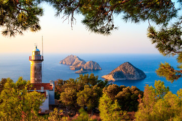 Fototapeten Leuchtturm Gelidonya lighthouse on Lycian Way