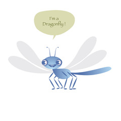 Cute dragonfly isolated on white background and speech balloon. Vector Illustration