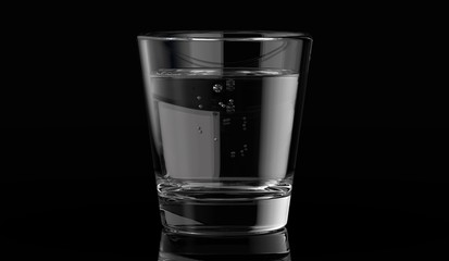 a glass of water with dark background. 3d render.