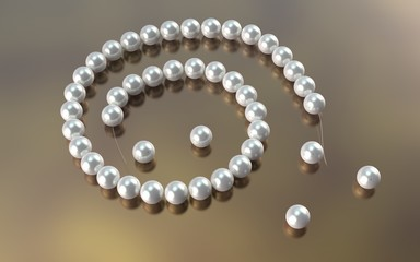 Pealr necklace cut cord. 3d render.