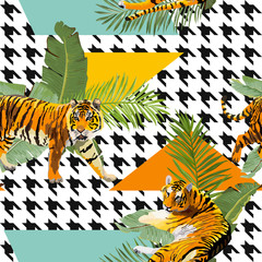 Tigers in Tropical Flowers and Palm Leaves Background, Seamless Pattern in vector