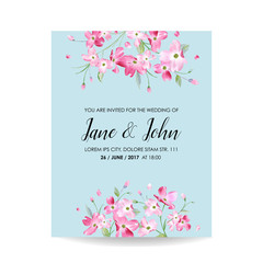 Save the Date Card with Spring Cherry Flowers for Wedding, Invitation, Party, RSVP in vector