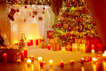 Christmas Tree, Presents Gifts and Fireplace in Holiday Home Room, Xmas Indoor Decoration in Candles Light
