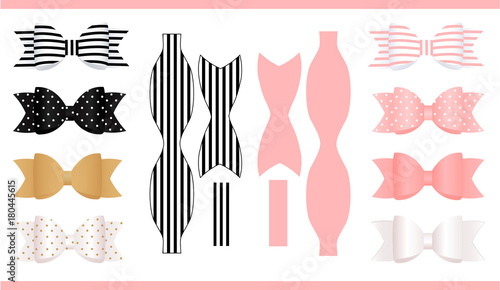 Set of realistic paper bows pink gold white and black print and set of realistic paper bows pink gold white and black print and maxwellsz