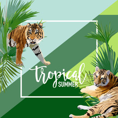 Tropical Flowers and Tiger Summer Banner, Graphic Background, Exotic Floral Invitation, Flyer or Card. Modern Front Page in Vector