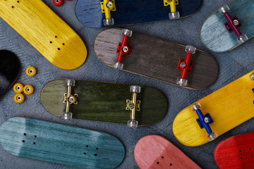 Multicolored fingerboards and details, top view