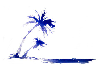 Palm tree on the beach, abstract background made of watercolour with space for text