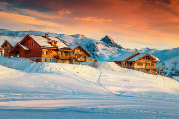 Majestic sunset and ski resort in the French Alps, Europe Wall mural