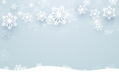 Merry Christmas and Happy new year with snowflakes background