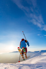 Wall Mural - Winter day and good skiing.