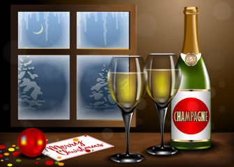 Merry Christmas interior with Champagne and glass on table