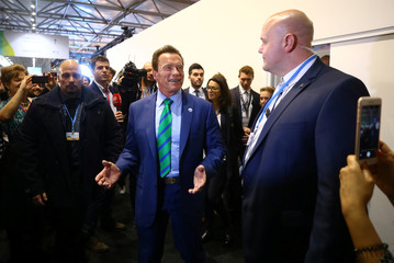 Former California governor and 'Mr. Universe' Arnold Schwarzenegger is surrounded by delegates and observers as he arrives at the COP23 UN Climate Change Conference 2017, hosted by Fiji but held in Bonn