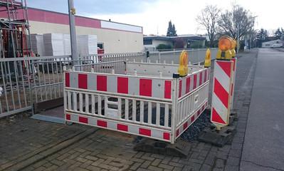 Absperung einer Baustelle in Deutschland