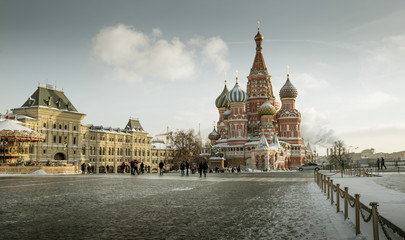 St. Basil's Cathedral on Red Square in Moscow during Christmas, Russia
