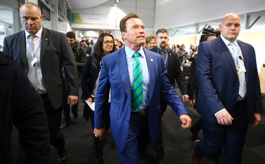 Former California governor and 'Mr. Universe' Arnold Schwarzenegger arrives for the COP23 UN Climate Change Conference 2017, hosted by Fiji but held in Bonn