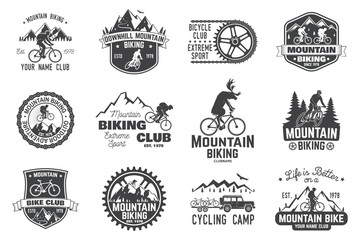 Mountain biking collection. Vector illustration. Wall mural