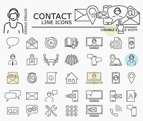Contact line icons with minimal nodes and editable stroke width and style