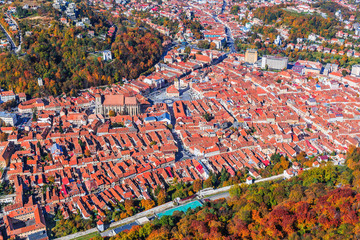 Brasov, Romania. Arial view of the Black Church and the Old Town.