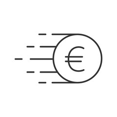 Flying euro coin linear icon