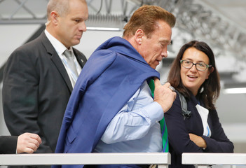Former California governor and 'Mr. Universe' Arnold Schwarzenegger is seen as he arrives for the COP23 UN Climate Change Conference 2017, hosted by Fiji but held in Bonn